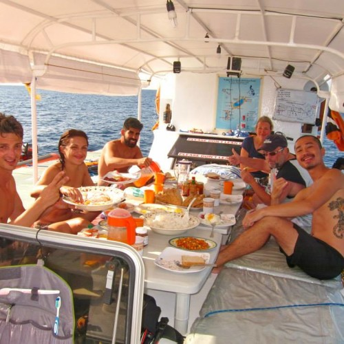 Guests on board a liveaboard